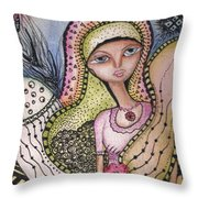 Woman With Large Eyes Throw Pillow by Prerna Poojara