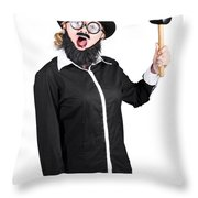 Woman With Male Costume Holding Mallet Throw Pillow