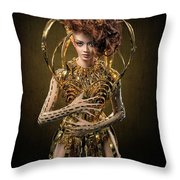 Woman With Messy Curl Updo In Golden Attire Throw Pillow
