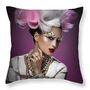 Woman With Pink And White Headpiece In White Dress Throw Pillow