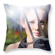 Woman With Pitchfork Throw Pillow