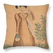Woman With Plumed Hat Throw Pillow