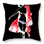 Woman With Red Cape - And Not Much Else Throw Pillow