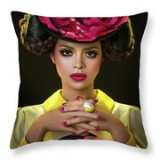 Woman With Red Flower Headdress Throw Pillow