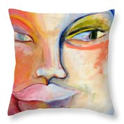 Woman With  Secret Throw Pillow