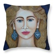 Woman With Silver Earrings Throw Pillow
