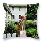 Woman With Striped Jacket And Flowered Skirt Throw Pillow