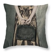 Woman With Suitcase Throw Pillow