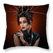 Woman With Twig Headdress And Oriental Look Throw Pillow
