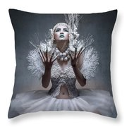 Woman With Twigs For Nails Throw Pillow