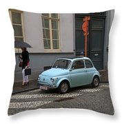 Woman With Umbrella Throw Pillow