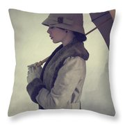 Woman With Vintage Cloche Hat Overcoat And Umbrella In Rain Throw Pillow