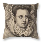Woman With White Veil And Black Hat (mary Stuart?) Throw Pillow