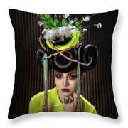 Woman With Yellow Dress With Feather And Leaf Headdress Throw Pillow