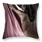 Woman Wrapped In Pink Reaching The Light Throw Pillow