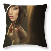 Woman's Face In The Mirror Throw Pillow