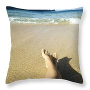 Womans Legs Relaxing Throw Pillow by Kicka Witte - Printscapes