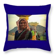 Women Carrying Goods On Their Heads H A Nv Throw Pillow