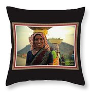 Women Carrying Goods On Their Heads H A With Decorative Ornate Printed Frame. Throw Pillow