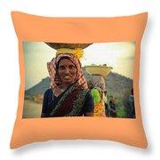 Women Carrying Goods On Their Heads H B Throw Pillow