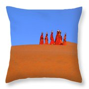 Women Carrying Water In The Thar Desert - Rajasthan, India. Throw Pillow