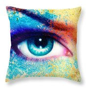 Women Eye Color Rust Effect Painting Collage Violet Makeup. Throw Pillow
