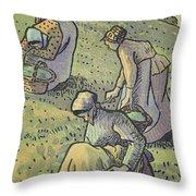 Women Gathering Mushrooms Throw Pillow