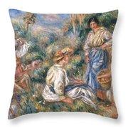 Women In A Landscape Throw Pillow
