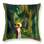 Women In A Park With A White Parasol Throw Pillow