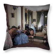 Women In Period Costumes Sit In An Throw Pillow