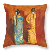 Women In Sarees Throw Pillow