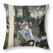 Women On A Cafe Terrace Throw Pillow by Edgar Degas