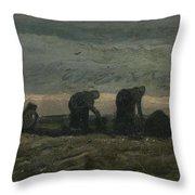 Women On The Peat Moor Nieuw Amsterdam, October 1883 Vincent Van Gogh 1853 - 1890 Throw Pillow