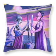 Women Pounding Cassava Throw Pillow