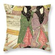Women Walking Over A Bridge In Snow Throw Pillow