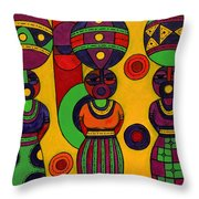 Women With Calabashes II Throw Pillow
