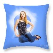 Womens Fashion Pinup Model On Blue Studio Lights Throw Pillow