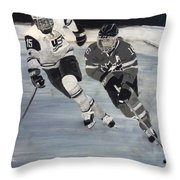 Women's Hockey Throw Pillow by Richard Le Page