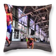 Wonder Girl And Super Pup Throw Pillow