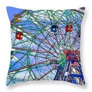 Wonder Wheel Amusement Park 3 Throw Pillow