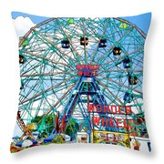 Wonder Wheel Amusement Park 6 Throw Pillow