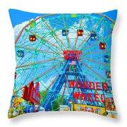 Wonder Wheel Amusement Park 7 Throw Pillow