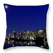 Wonderful Autumn Night In Port Vancouver Throw Pillow