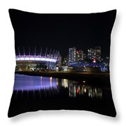 Wonderful Night Of False Creek View With Bc Place. Throw Pillow
