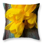Wonderful Yellow Tulips With Dew Throw Pillow