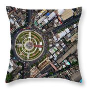 Wongwian Yai Roundabout Surrounded By Buildings, Bangkok Throw Pillow by Pradeep Raja PRINTS
