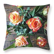 Wood And Roses Throw Pillow