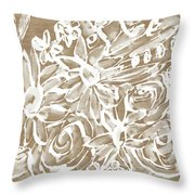 Wood And White Floral- Art By Linda Woods Throw Pillow