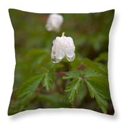 Wood Anemone Heavy From The Rain Throw Pillow