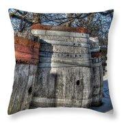 Wood  Barrel Oak Fermentation Whiskey Bourbon Cask Winter Snow Wood Faust Park Throw Pillow